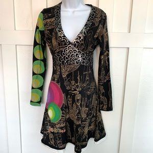 Desigual Fit and Flare Deep V Neck Jersey Dress